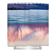 Mt Laurier Mirrored On Lake Laberge Yukon Canada Shower Curtain