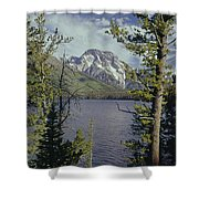 1m9226-mt. Moran And Jenny Lake, Wy Shower Curtain