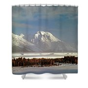1m9202-mt. Moran, Tetons, Wy Shower Curtain