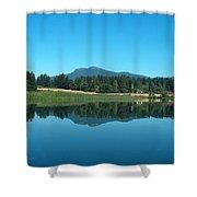 Mt Prevost Over Quamichan Lake Shower Curtain