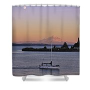 Mt. Rainier Afterglow Shower Curtain by Adam Romanowicz