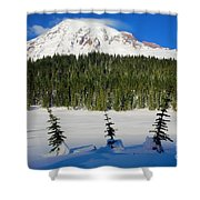 Mt Rainier And Three Trees Shower Curtain