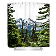 Mt. Rainier Framed Shower Curtain