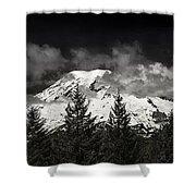 Mt Rainier Panorama B W Shower Curtain