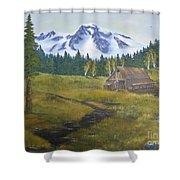 Mt Rainier Ranch Shower Curtain