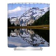 Mt. Rainier On Aurora Lake Shower Curtain