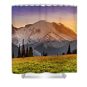 Mt. Rainier Sunset 2 Shower Curtain