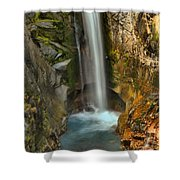 Mt Rainier Waterfall Shower Curtain