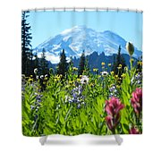 Mt. Rainier Wildflowers Shower Curtain