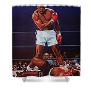 Muhammad Ali Versus Sonny Liston Shower Curtain by Paul Meijering
