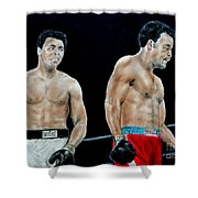Muhammad Ali Vs George Foreman Shower Curtain by Jim Fitzpatrick