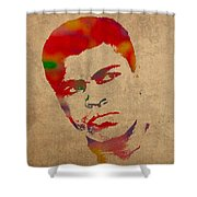 Muhammad Ali Watercolor Portrait On Worn Distressed Canvas Shower Curtain