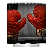 Muhammad Ali's Boxing Gloves Shower Curtain by Bill Cannon