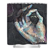 Muladhara - Root 'blue Hand' Chakra Mudra Shower Curtain