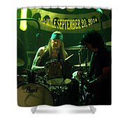 Mule #15 With Text Shower Curtain