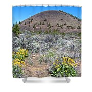 Mule's Ears And Schonchin Butte In Lava Beds Nmon-ca Shower Curtain