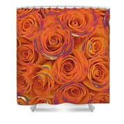 Multi Rose Electric Orange Shower Curtain