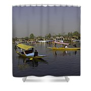 Multiple Number Of Shikaras On The Water Of The Dal Lake In Srinagar Shower Curtain