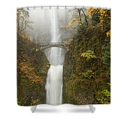 Multnomah Autumn Mist Shower Curtain by Mike  Dawson