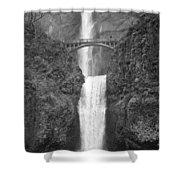 Multnomah Double Falls - Bw Shower Curtain