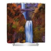 Multnomah Falls In Autumn Shower Curtain
