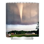 Mulvane Tornado With Storm Chasers Shower Curtain by Jason Politte
