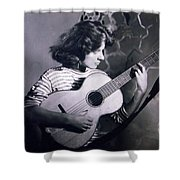 Mum Chris With Her Guitar Gitana Shower Curtain