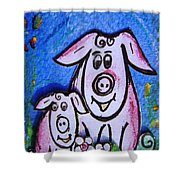 Mummy And Baby Pig  Shower Curtain