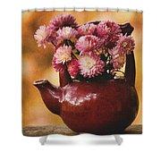 Mums In A Teapot Still Life Shower Curtain