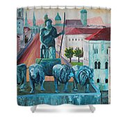 Munich Leopold Str. With Bavaria And Alps Shower Curtain