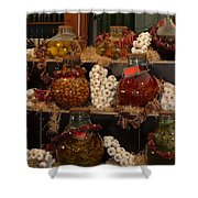 Munich Market With Pickles And Olives Shower Curtain