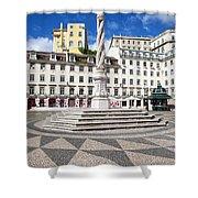 Municipal Square In Lisbon Shower Curtain
