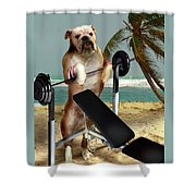 Muscle Boy Boxer Lifting Weights Shower Curtain