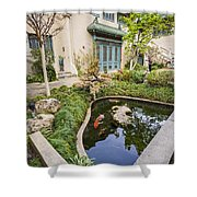 Museum Koi - Courtyard Of The Pacific Asia Museum In Pasadena. Shower Curtain