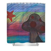Mushroom And Star Shower Curtain