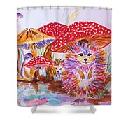 Mushrooms And Hedgehogs Shower Curtain