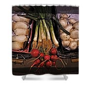 Mushrooms And Radishes Framed Shower Curtain