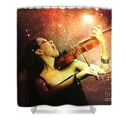 Music Explodes In The Night Shower Curtain by Linda Lees