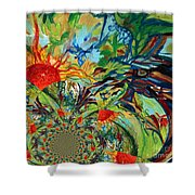 Music In Bird Of Tree Assymetrical Shower Curtain