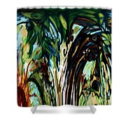 Music In Bird Of Tree Drip Painting Shower Curtain