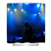 Music In Blue - Montreal Jazz Festival Shower Curtain