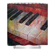 Music Is The Key - Painting Of A Keyboard Shower Curtain