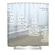 Music Of The Wind And Waves Poem On Ocean Background Shower Curtain