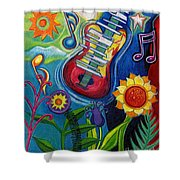 Music On Flowers Shower Curtain