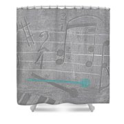 Musical Notes And Instruments Set To Gray With A Blue Drumstick Accent  Shower Curtain