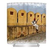 Musician - Amber Palace - India Rajasthan Jaipur Shower Curtain