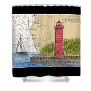 Muskegon Lighthouse Mi Nautical Chart Map Art Cathy Peek Shower Curtain