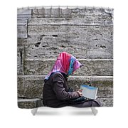 Muslim Woman At Mosque Shower Curtain