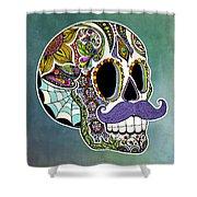 Mustache Sugar Skull Shower Curtain