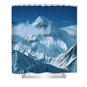 Mustagh Tower At Center And Masherbrum Shower Curtain